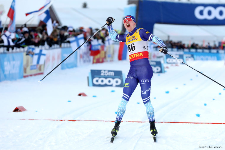The local hero Iivo Niskanen celebrated victory in 15 km (c) in Lahti World Championships in 2017. Here he is victorious in another home race in Ruka Nordic World Cup in 2019.
