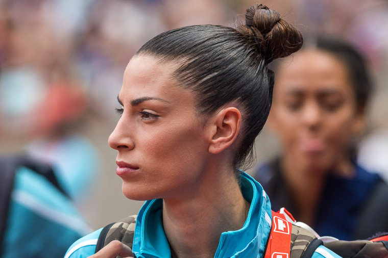 Serbian long jumper Ivana Španović is one of the Diamond League star athletes. This photo is taken in the Lausanne Diamond League event in 2017. She won the long jump competition in Lausanne jumping 679.