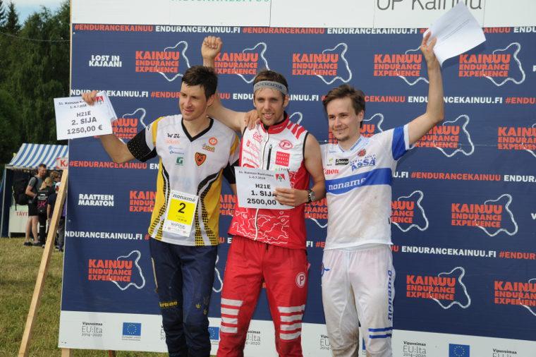 Kainuun Rastiviikon 2018 miesten pääsarjan kärkikolmikko: 2. Oleksandr Kratov (UKR), 1. Johan Runesson (SWE), 3. Toni Saari (FIN).