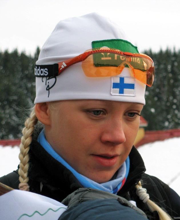 Kaisa Mäkäräinen uransa alkupuolella vuonna 2007 Khanty-Mansiskissa.