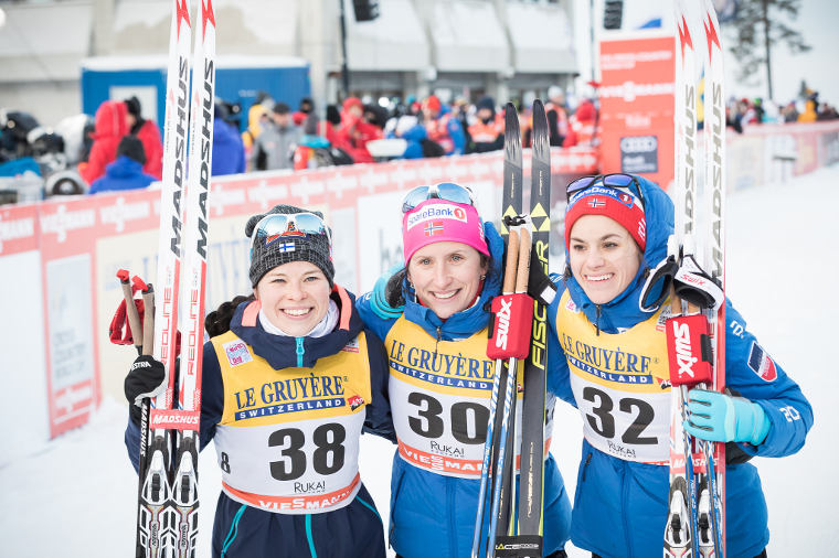Celebrations after a hard race in Ruka Nordic 2016. In the picture from left: Krista Pärmäkoski, Marit Björgen and Heidi Weng.