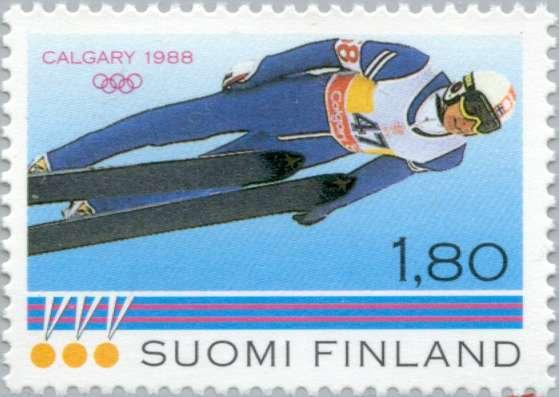 Matti Nykänen voitti Calgaryssä 1988 kolme olympiakultaa. Menestystä kunnioitettiin muun muassa postimerkin muodossa.