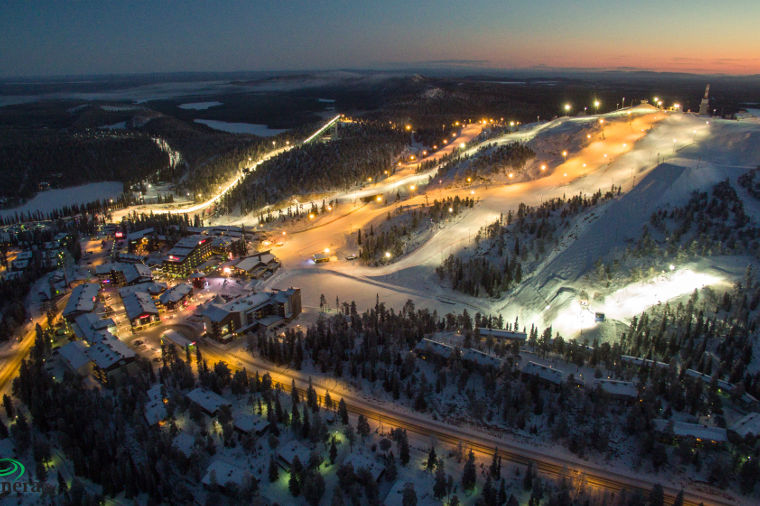 The Ruka area by night.