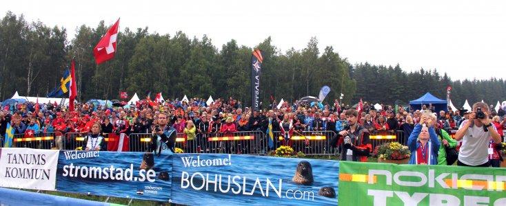 Suunnistus on mainio yleisölaji. Kuva vuoden 2016 suunnistuksen MM-kisoista Strömstadista, Ruotsista.