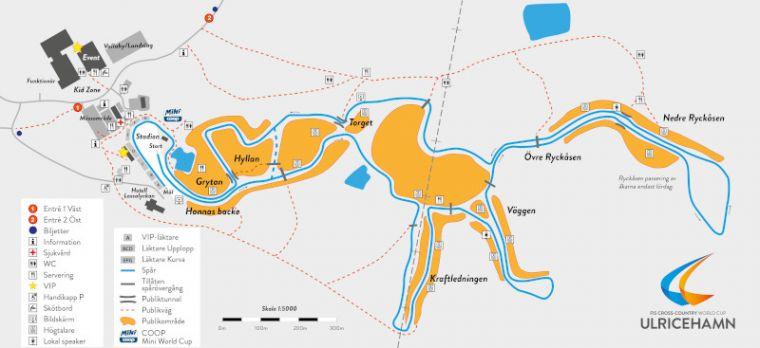 Ulricehamnissa kisaladun varrella on monta paikkaa, josta kisoja voi seurata.