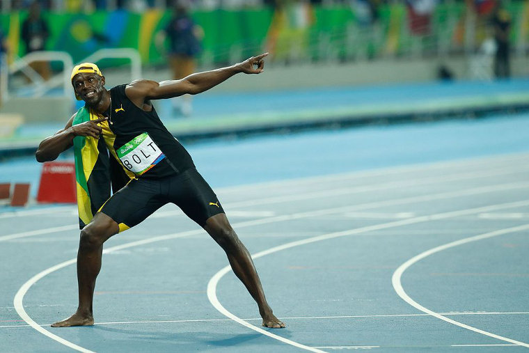 Jamaicas Usain Bolt holds the world records for 100 and 200 metres dash.
